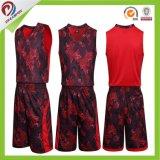 Baloncesto reversible de encargo Jersey de Camo del verde del rojo azul de XXL