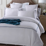 200thread Count Plain White Cotton Broderie Linge de lit et taies d'oreiller