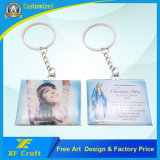 Metallo personalizzato di prezzi di fabbrica entrambe anello chiave del ricordo dell'epossidico del lato per il vangelo del Jesus (XF-KC10)