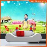 小さい天使および美しい花の漫画の油絵
