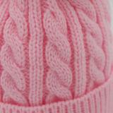 Cappello falso di inverno della sfera della pelliccia lavorato a maglia cavo della donna