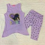 子供によって印刷される衣類、スクエア6658夏の女の赤ちゃんのスーツ