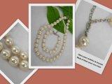 Collar de perlas de vidrio y brazalete (YWTOP090402-8)