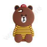 Estojo de borracha de silicone Soft Bear Bear para iPhone 7