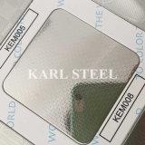 430 feuille gravée en relief par couleur d'argent d'acier inoxydable Kem010