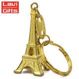 卸売のための安い習慣3Dパリフランスエッフェル塔のラインストーンの金属Keychain