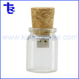 Рекламные стеклянную бутылку Корк флэш-накопитель USB, карта памяти Memory Stick