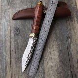 Damasucs стальной нож с помощью ручки из розового дерева для использования вне помещений для кемпинга выживания