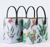 Élégant en cuir d'accueil haut de godet rétro grand sac à main peut être personnalisé Panier cadeau multifonction