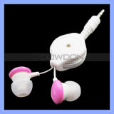 Förderung Retractable Earphone 3.5mm Stereo Headphone mit Mic Logo Custom