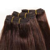 機械Weft二重引かれた品質の100%年のバージンのまっすぐな人間の毛髪