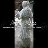 Scultura di marmo bianca Mano-Intagliata di Carrara per la decorazione domestica Ms-619