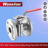 직접 설치 패드 DIN Pn16/Pn40를 가진 2PC 플랜지 공 벨브