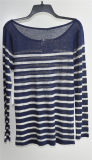 Runder Stutzen Striped Pulloverknit-Strickjacke für Damen
