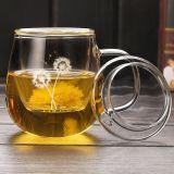 主な品質のフィルターが付いているガラスティーカップはロゴの茶ガラスのマグをカスタマイズする