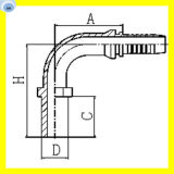 Guarnición recta 50091 de la columna de alimentación métrica de la curva de 90 grados