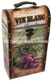 Decorative garder son calme et se collent l'impression unique de conception en cuir/PU Vin de stockage de boîte en bois MDF