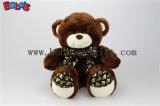 Marrom Escuro Bonitinha urso de pelúcia com coração de pés e Fita de impressão