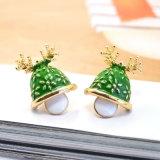 枝角のスタッドのイヤリングのクリスマスの宝石類が付いている緑のエポキシのクリスマスの帽子
