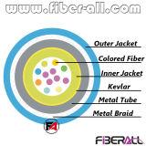 12fibers cubierta Cable blindado con tubo de metal y malla de fibra de color