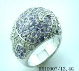 은 반지 백색과 파란 입방 지르코니아 (RR10007)