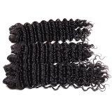 7A Weave molhado da onda 4bundles da rainha de cabelo dos produtos do cabelo profundo brasileiro do Virgin da onda profundamente e ondulado Curly profundo não processado do cabelo humano