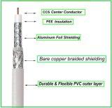 Cable coaxial negro y blanco F Plug a F Plug Rg59u cable coaxial (SY098)