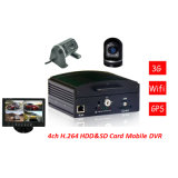 3G Mobile DVR, WCDMA, g-Sensor, GPS, Hard Drive, 4CH, Vehicle Tracking, 8-36V Wid Voltage
