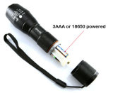 Zoom out CREE Lanterna LED recarregável T6 powered by 18650 ou 3a AAA