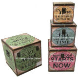 S/4装飾の骨董品型生きている愛笑いデザイン正方形の印刷PU Leather/MDFの木の記憶のトランクボックス
