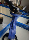 Ferro dúctil tipo wafer de banco de PTFE com a alavanca da válvula de borboleta