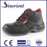 Corte médio de aço calçado de couro botas de segurança do TOE RS6136