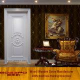 Porte d'intérieur en bois massif de haute qualité et couleur blanche (GSP2-076)