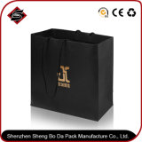 Kundenspezifisches Luxuxfirmenzeichen gedruckte schwarze PapierEinkaufstasche/Papierbeutel