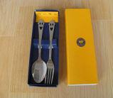Colher de aço inoxidável e conjunto de garfos com caixa de presente