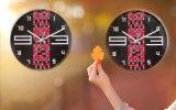12-дюймовый красного и черного металла Quartz Настенные часы