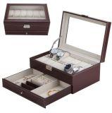 Ver Box Caja de cuero de joyero para el almacenamiento y visualización