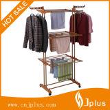 3 vestiti della fila che asciugano cremagliera con le rotelle Jp-Cr300W2