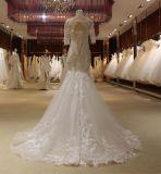 Vestidos de casamento da garganta da curva da luva da sereia meios