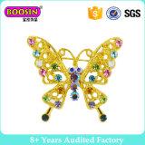 Broche van de Speld van de Vlinder van het Kristal van het Metaal van de douane de Gouden voor Vrouw