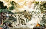 景色のワシの記号を用いる壮大な見通しの絵画および大きく高く高い山および村