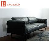Sofá moderno del cuero genuino de Italia Nappa del color gris para los muebles de la sala de estar