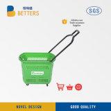 Meilleur supermarché des paniers de la main de magasinage en plastique avec les roues des chariots pour la vente d'épicerie