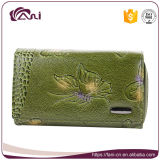 Green Butterfly Printed Embossed Women Purse Genuine Leather