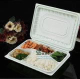 5 compartimentos bandeja de comida de plástico descartável de fast food