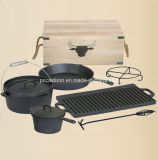 Ferro Fundido Reversable Preseasoned Camping Churrasqueira Pan China