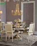 Barata Ronda brillante Cristal mesa de comedor con patas de madera maciza