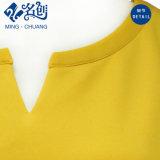 Короткое замыкание Rear-Zipper Golden-Yellow муфту V-шее моды дамы летом блуза