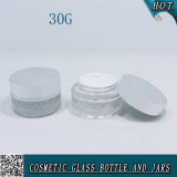 30g 100ml Clear Glass Cosmetic Bottle and Jar com tampa do pulverizador de parafuso