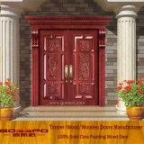 Porta de entrada de madeira da folha dobro da casa de campo (GSP1-005)